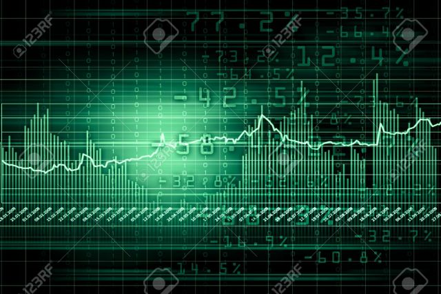 16137090-Business-graph-with-arrow-showing-profits-and-gains-Stock-Photo